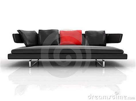 red and black leather couch black leather couch whith red pillow stock images image