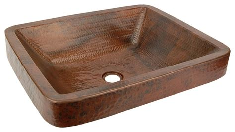 Vessel Faucet Waterfall Rectangle Skirted Vessel Hammered Copper Sink Rustic