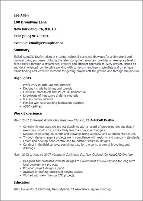 Mechanical Drafter Cover Letter by Autocad Drafter Resume Template Best Design Tips Myperfectresume