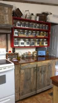 country kitchen rustic cabinets and the shelf with the