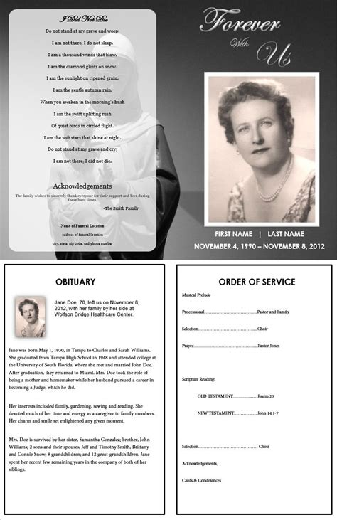 9 memorial service program template authorizationletters org