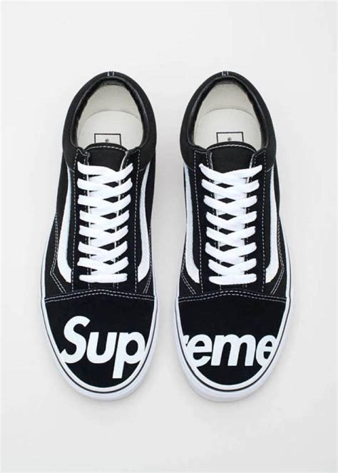 supreme vans supreme vans black white skool shoes mens kixify