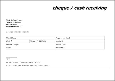 cheque receipt template word cheque payment receipt format in word receipt voucher