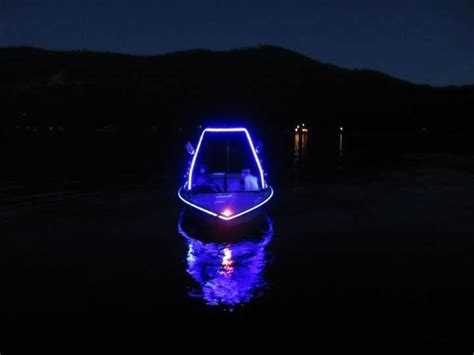 purple led boat lights on lake tahoe joshua root s boat livens the night with