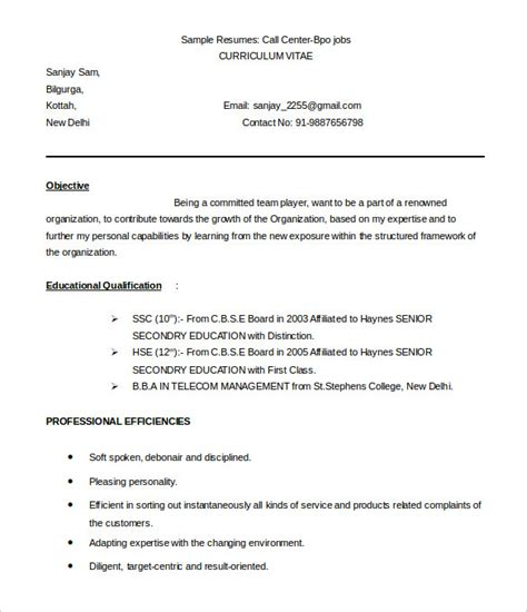 resume format for call center for fresher 37 bpo resume templates pdf doc free premium templates
