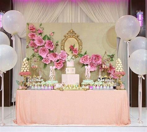 decoracion para 15 años dessert table with paper flower design candy bar pinterest