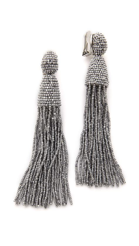 Tassel Earring In Silver oscar de la renta classic tassel earrings silver in