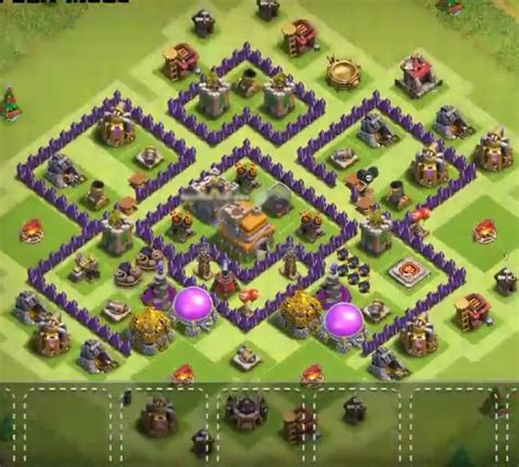 layout level 7 town hall top 50 best th7 war base farming hybrid trophy