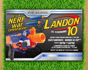 nerf invitation nerf wars birthday invitation nerf by ltaprints