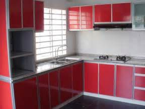 exceptional Red Brick Flooring Kitchen #1: amazing-red-finish-kitchen-cabinets-inspiration-in-small-u-shaped-kitchen-design-features-wonderful-gray-marble-kitchen-worktop-and-white-ceramic-tiles-backsplash-also-black-ceramic-tiles-flooring-plu-1138x854.jpg