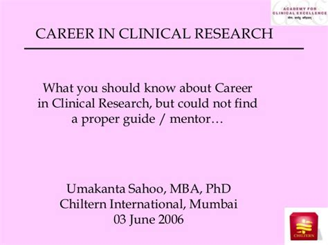 Mba In Clinical Research Management In India by Career In Clinical Research