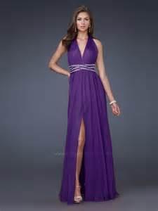 graceful seller deep v neck purple chiffon floor