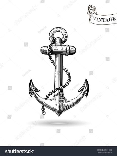 boat anchor drawing vector illustration nautical anchor symbol sailors stock