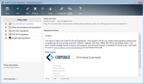 Office Mail Codetwo Email Signatures For Email Clients Screenshots