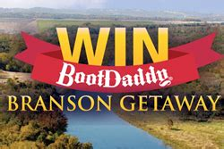 Bootdaddy Boot Giveaway - register to win an amazing branson vacation from pfi western store and bootdaddy com