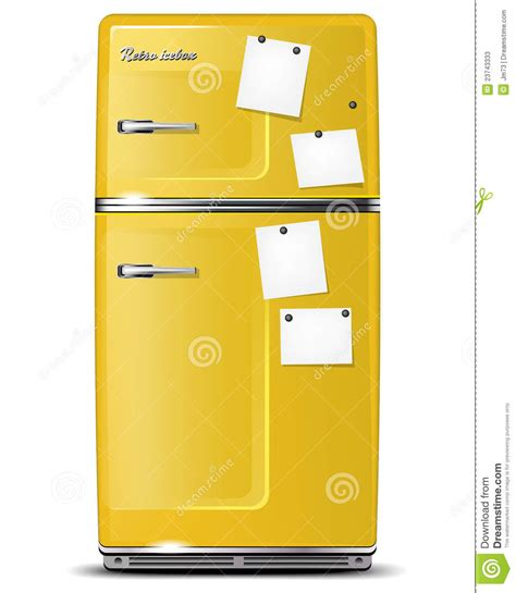 How To Make A Paper Refrigerator - yellow retro refrigerator with paper stickies stock photos