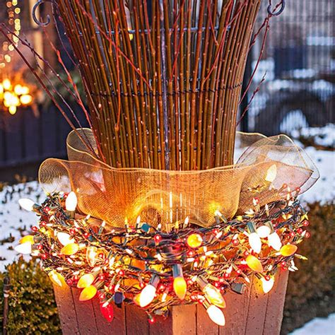 outdoor lantern christmas lights decorating yellow ribbon