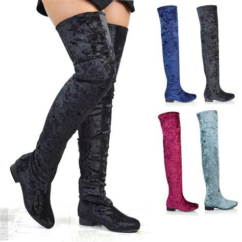 stretch thigh high boots womens thigh high flat stretch leg zip