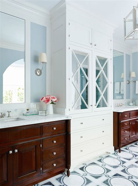 vanity linen cabinet with her mirrored linen cabinet transitional bathroom andrew