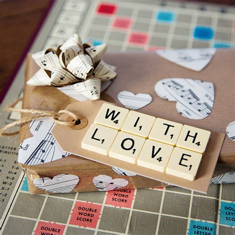 scrabble gifts with vintage scrabble gift tag by bookish