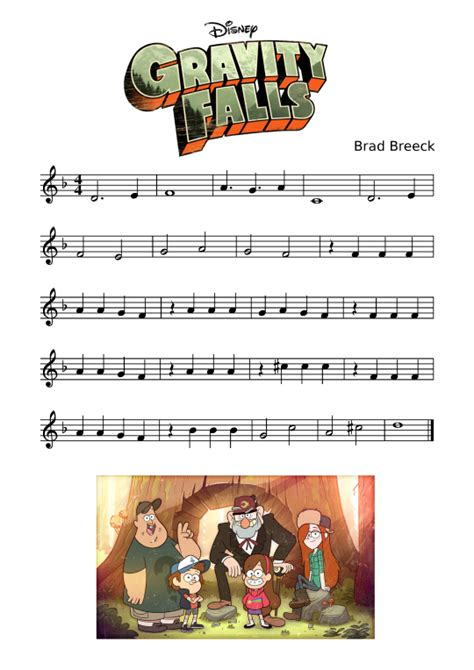 cartoon themes piano gravity falls theme sheet music for recorder