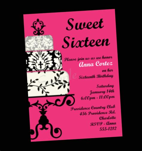 16th birthday invitations templates free items similar to sweet 16 birthday invitation sweet