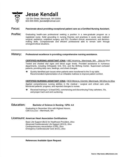 Resume For Position by Sle Resume For Cna Position Resume Resume Exles