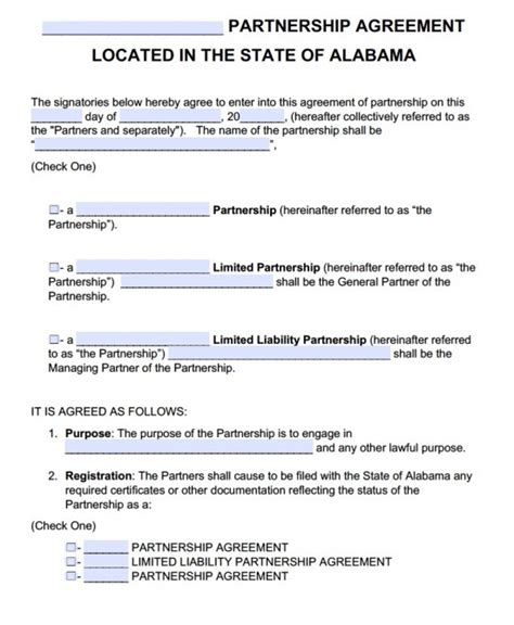 Free Alabama Partnership Agreement Template Pdf Word Partnership Agreement Template Pdf