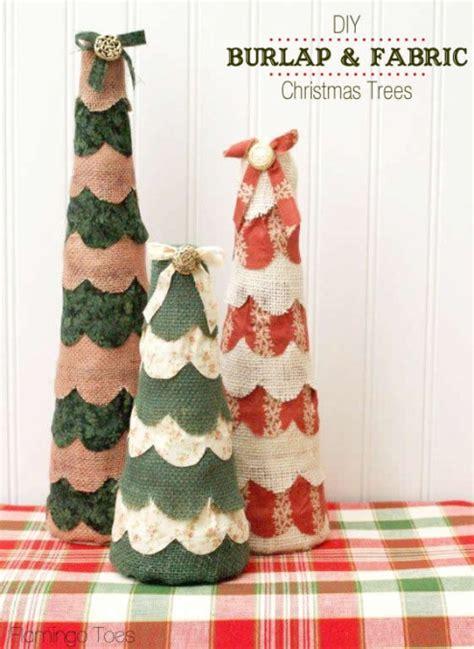 Making Christmas Ornaments - diy burlap and fabric christmas trees