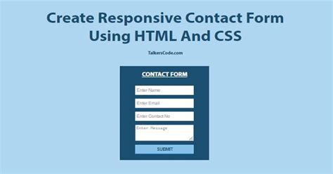 creating responsive css create responsive contact form using html and css