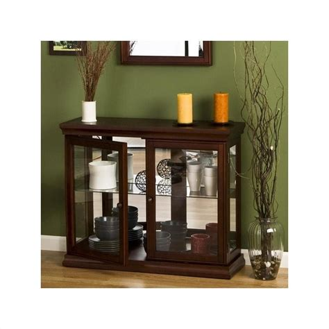 Console Cabinet With Glass Doors Southern Enterprises Mahogany Curio Console Table With Glass Doors Be0868