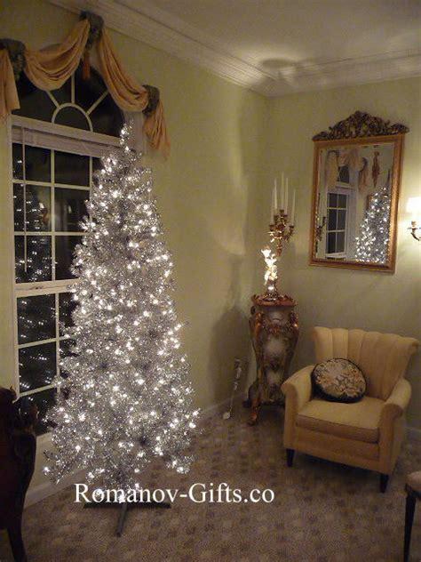 silver slim pre lit clear lights christmas tree 7 ft tall