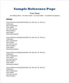 resume references exle sle reference page template 9 documents in pdf
