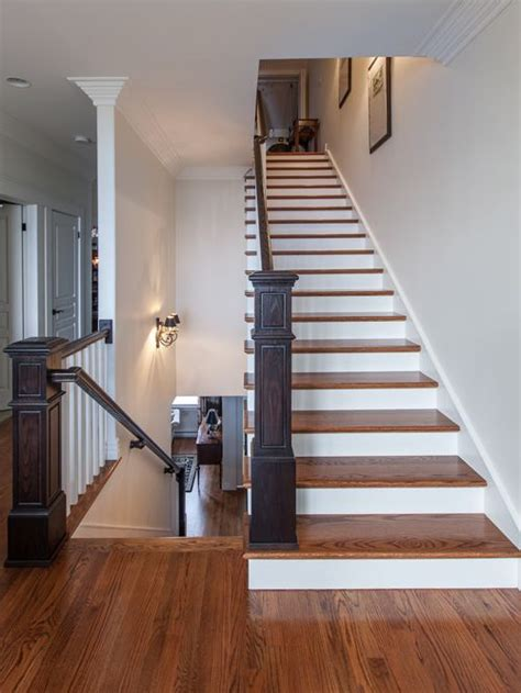 wood plank tile on staircase with white painted railings ideas stair flooring ideas houzz