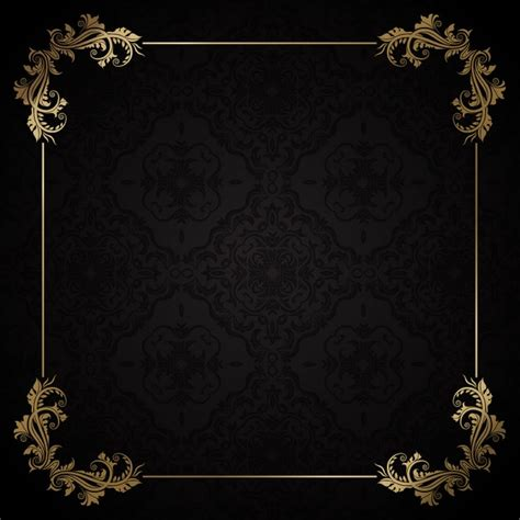 golden frame on a black background free vector free frames borders and backgrounds