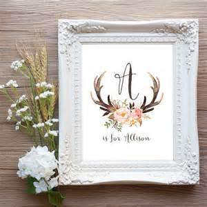 baby name decor antler nursery wall printable baby name by