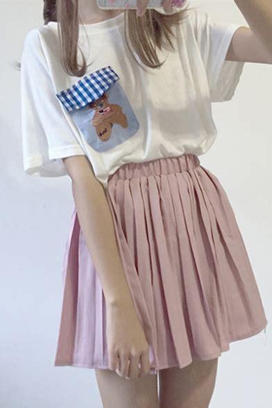 Pleated Plain Mini Skirt simple plain elastic waist pleated mini skirt
