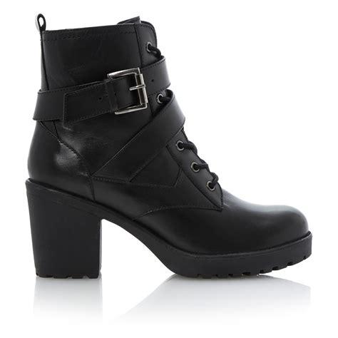 dune preeesha zip leather block heel toe boots in