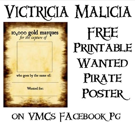 Pin By Carrie Clickard On Pirate Pinterest Free Printable Wanted Poster