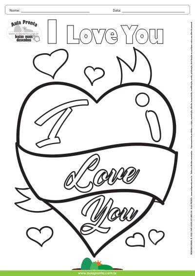 desenho de amor desenho para colorir fantasia i you aula