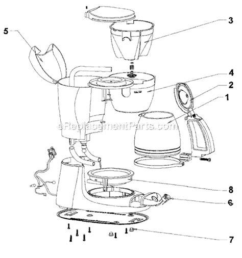 mr coffee parts diagram mr coffee es10 parts list and diagram ereplacementparts