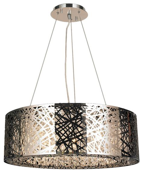 Oval Drum Chandelier High Gloss 10 Led Light Chrome Finish Clear Oval Suspension Chandelier Contemporary