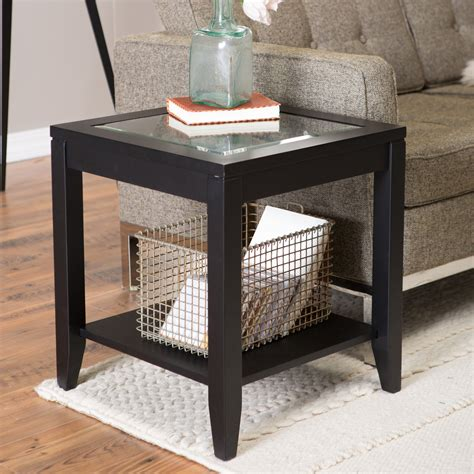 Shelby Glass Top End Table with Quatrefoil Underlay   End Tables at Hayneedle