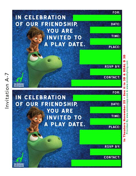 playdate cards template free dinosaur birthday playdate invitation