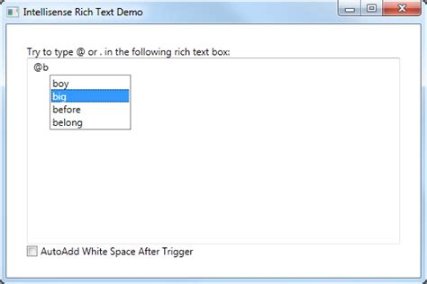 text box layout xaml rich text box with intellisense ability codeproject