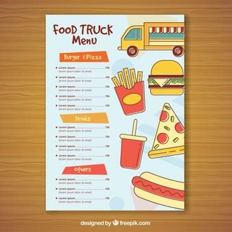 coq a doodle do food truck menu comida rapida fotos y vectores gratis