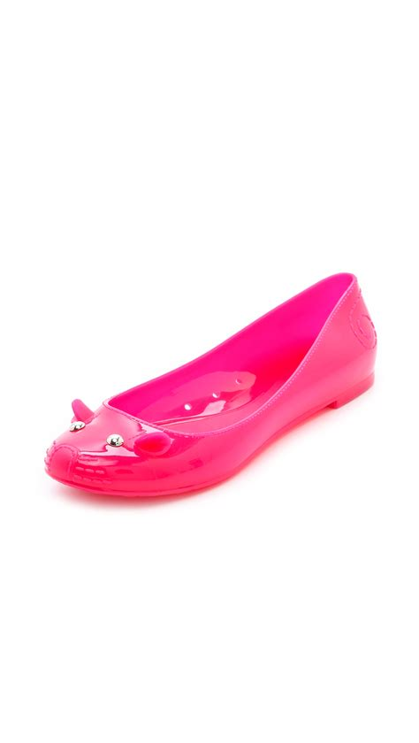 jelly shoes flats marc by marc mouse jelly ballet flats in pink lyst