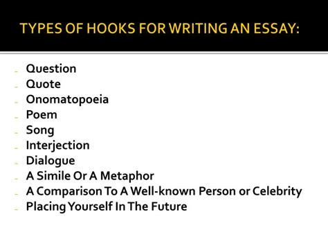 Types Of Hooks For Essays by How To Make A Hook For An Essay