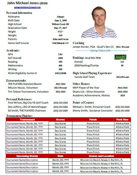 Junior Golf College Golf Resume Template