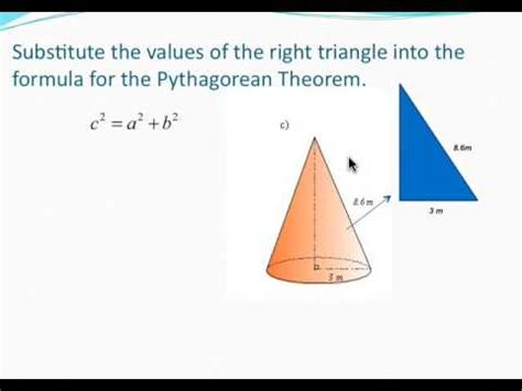 Find L by Volume Of A Cone Finding The Height Using The